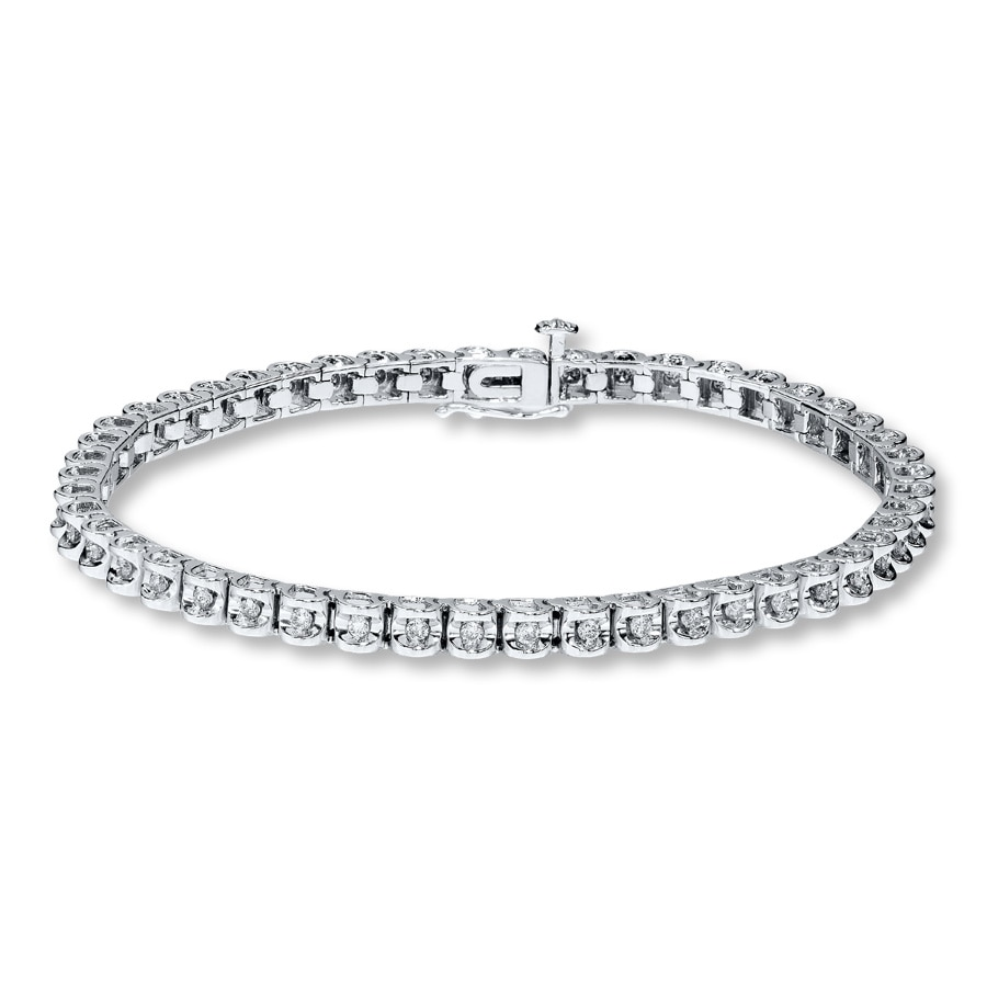 Diamond Bracelet 1 Ct Tw Round Cut 10k White Gold
