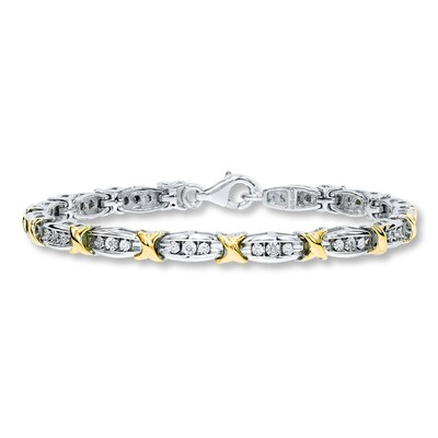 Diamond Bracelet 1/20 ct tw Round-cut Sterling Silver/10K Gold