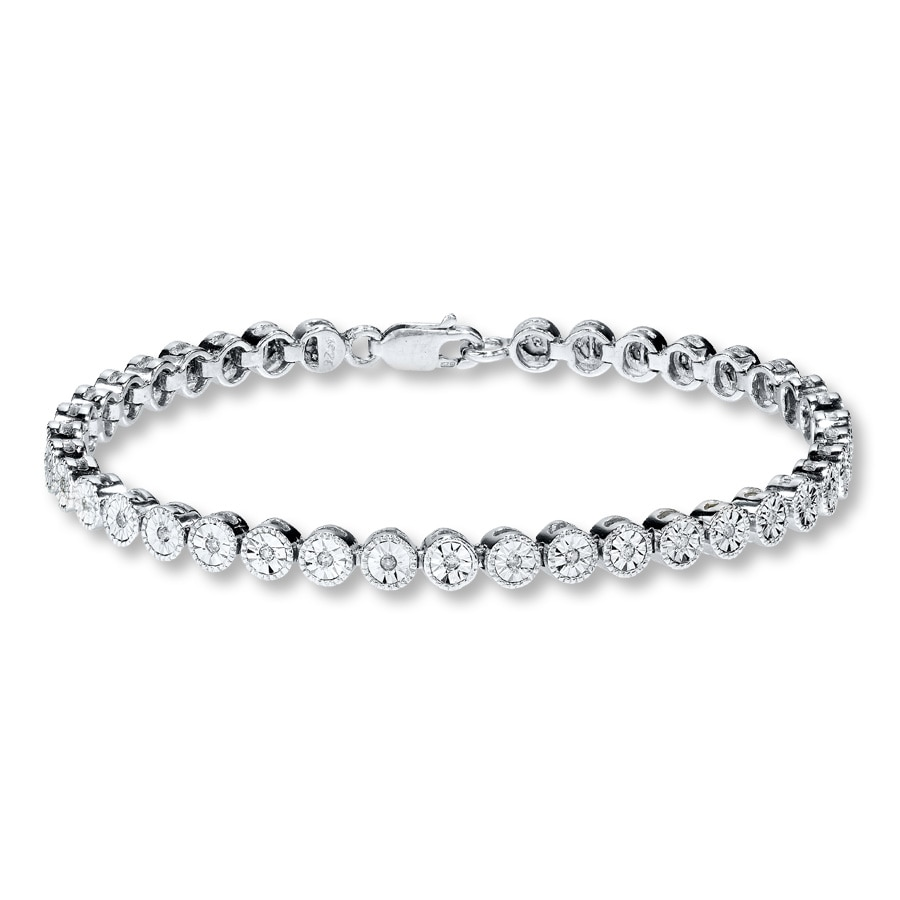 zirconia bangle silver rhodium com cubic diamond amazon jewelry bangles dp inch tennis cut sterling round bracelet