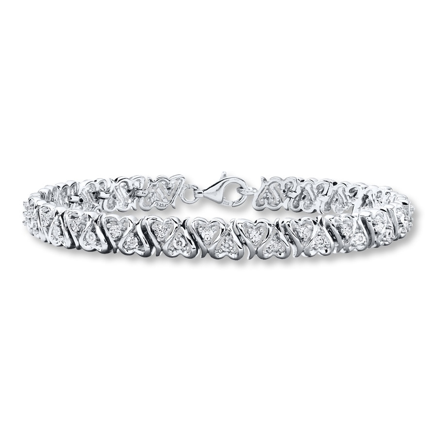Diamond Heart Bracelet 1 10 Ct Tw Round Cut Sterling Silver