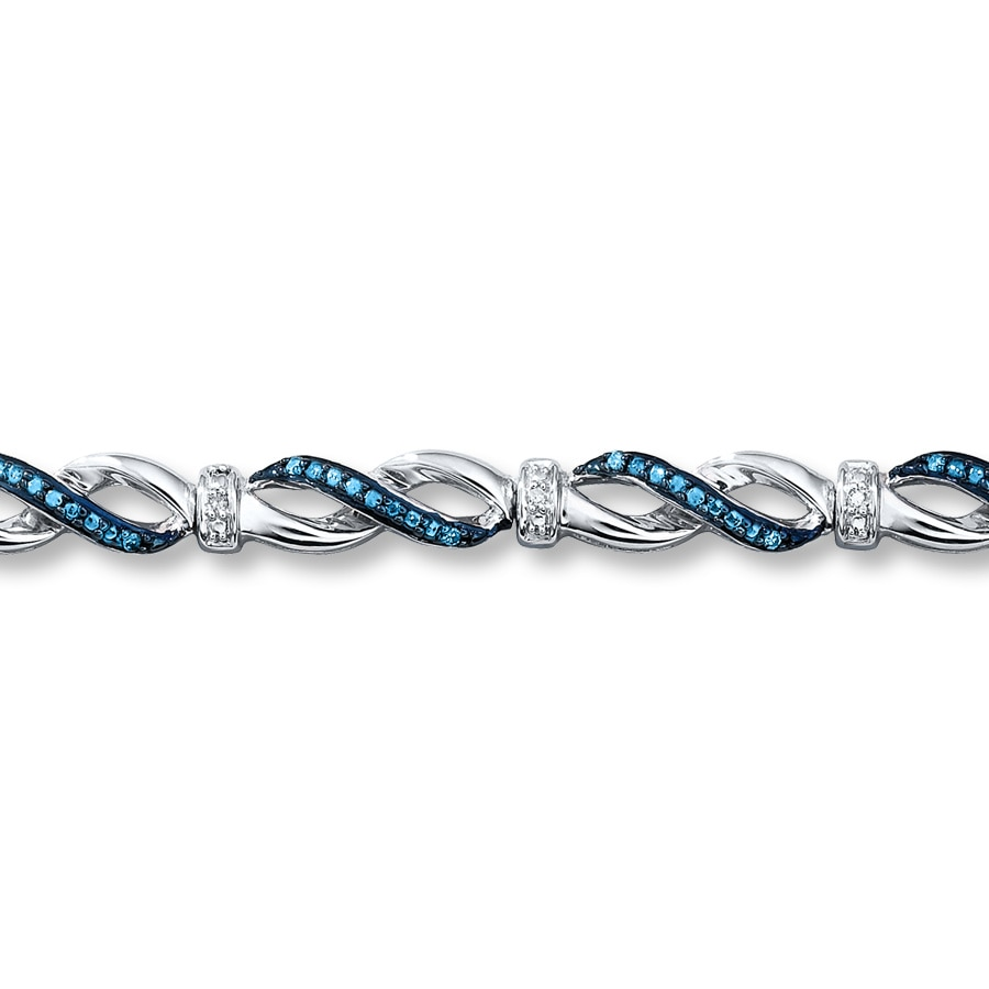 Blue Diamond Bracelet 1 5 Ct Tw Diamonds Sterling Silver