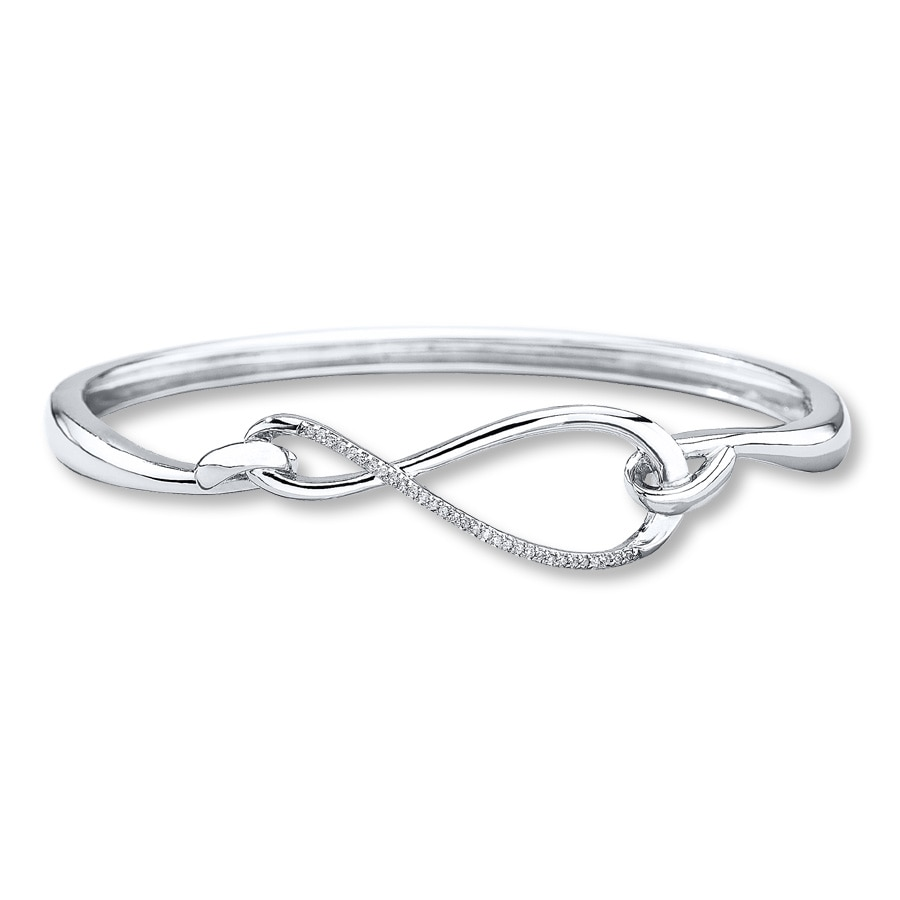 Infinity Symbol Bracelet 1 10 Ct Tw Diamonds Sterling
