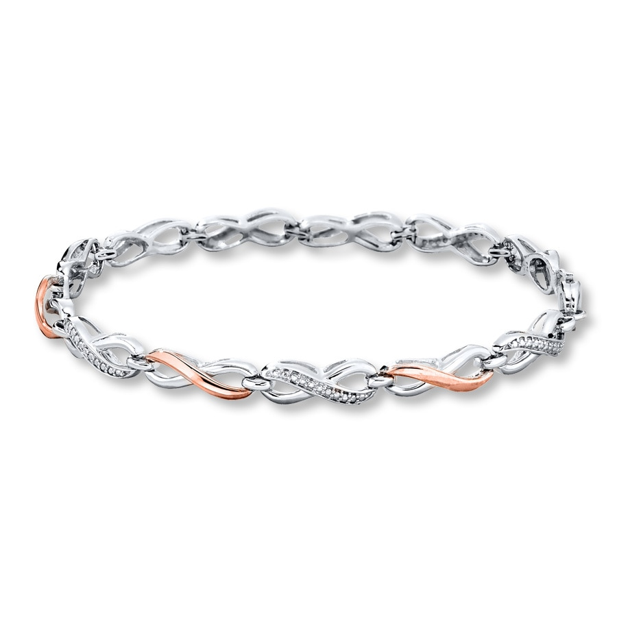 Infinity Bracelet Diamond Accents Sterling Silver 10k Gold