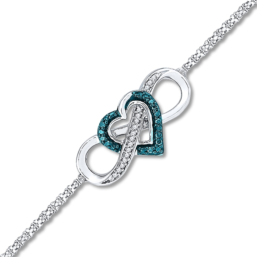 Artistry Diamonds Heart/Infinity Bracelet 1/10 cttw Blue Diamonds Sterling Silver yeHwQ3Zo4
