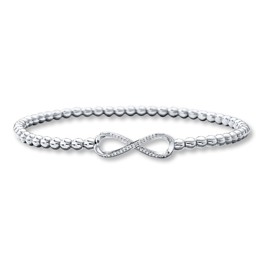 Infinity Bracelet Diamond Accents Sterling Silver