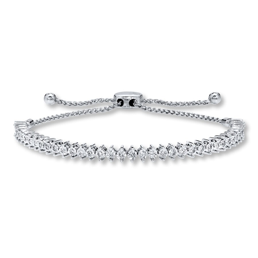 Diamond Bolo Bracelet 1 2 Ct Tw Round Cut 10k White Gold