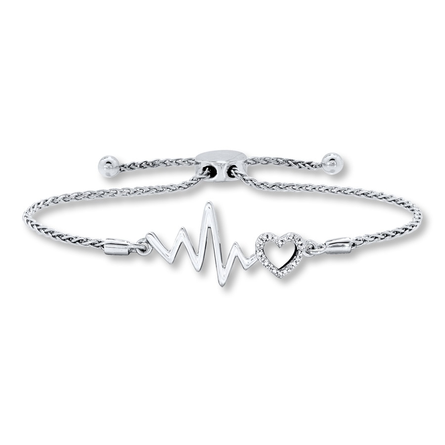 Heartbeat Bolo Bracelet Diamond Accents Sterling Silver