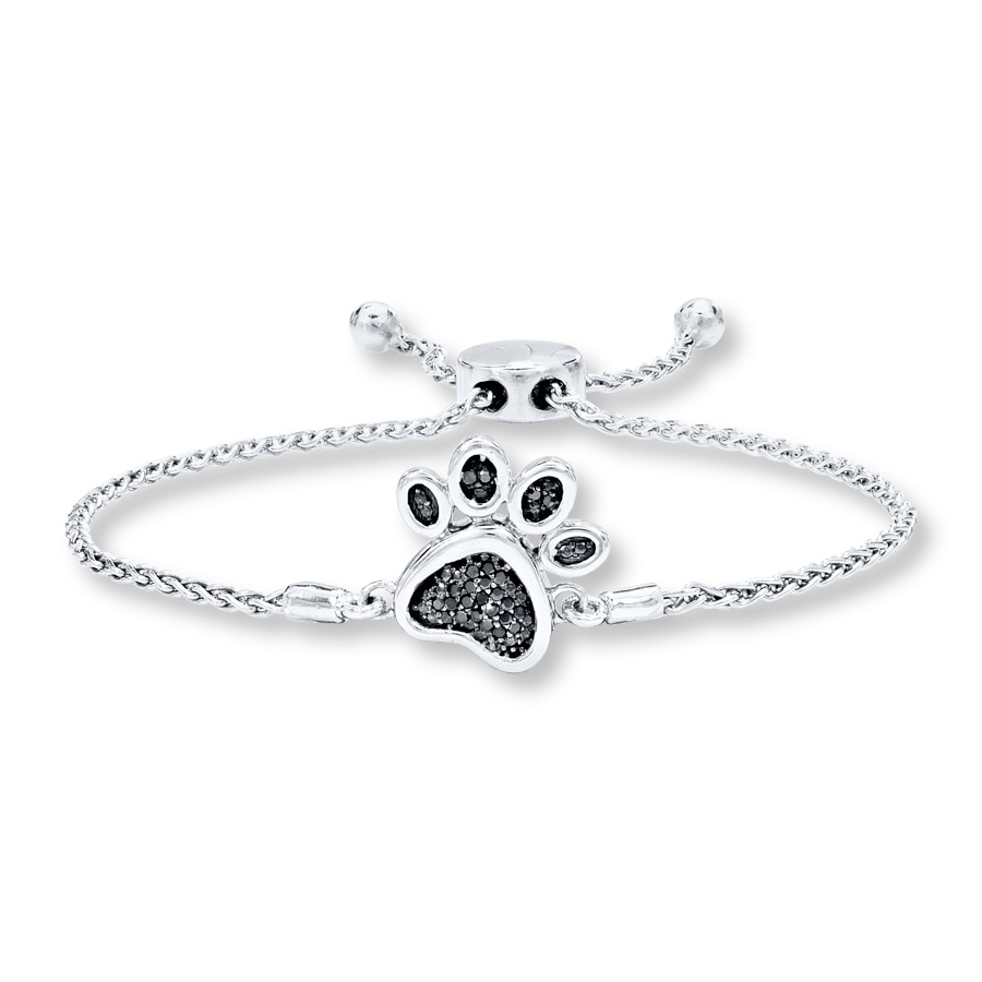 Paw Print Bolo Bracelet 110 Ct Tw Diamonds Sterling Silver