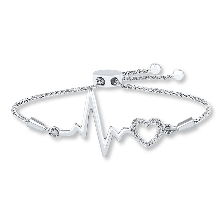 59bc7a25c Heartbeat Bolo Bracelet 1/20 ct tw Diamonds Sterling Silver. Tap to expand