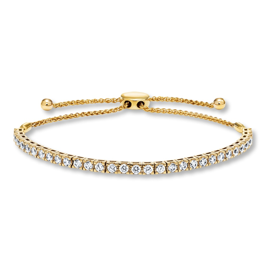 Diamond Bolo Bracelet 2 1 4 Ct Tw Round Cut 14k Yellow