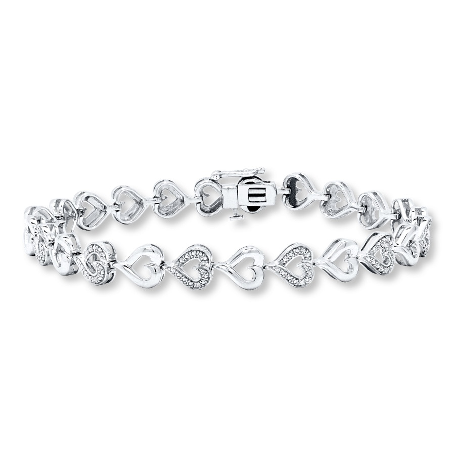 Diamond Heart Bracelet Sterling Silver