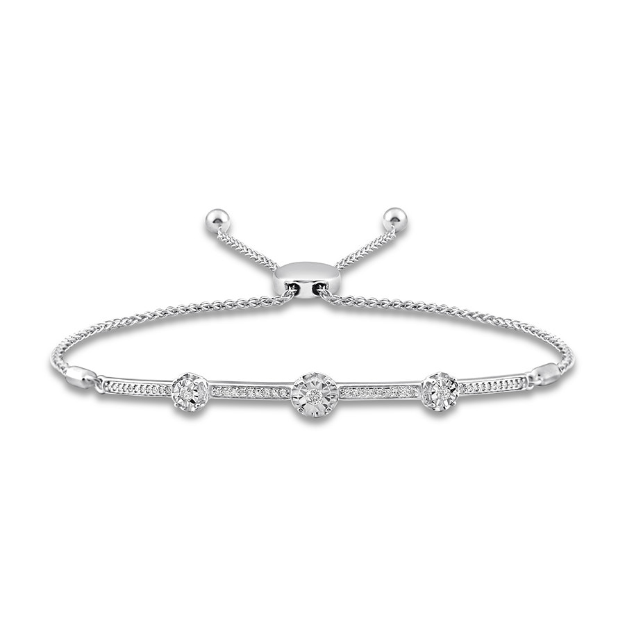 Diamond Bolo Bracelet 1 4 Ct Tw Round Cut Sterling Silver