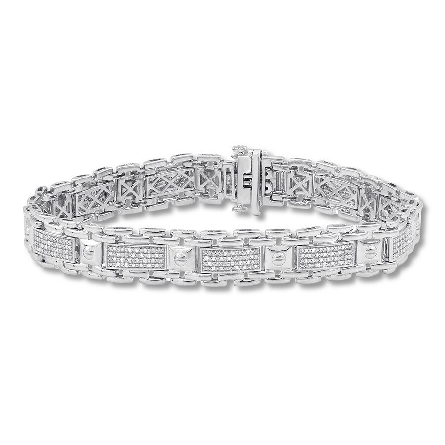 83739230ce078 Men's Diamond Bracelet 1/2 ct tw Round-cut Sterling Silver 8.5