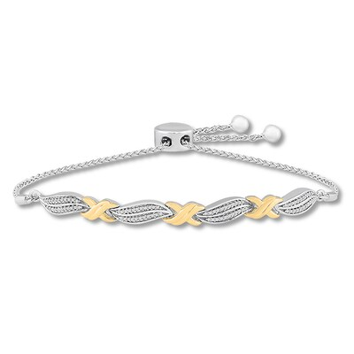 Diamond Bolo Bracelet 1/6 ct tw Sterling Silver/10K Yellow Gold