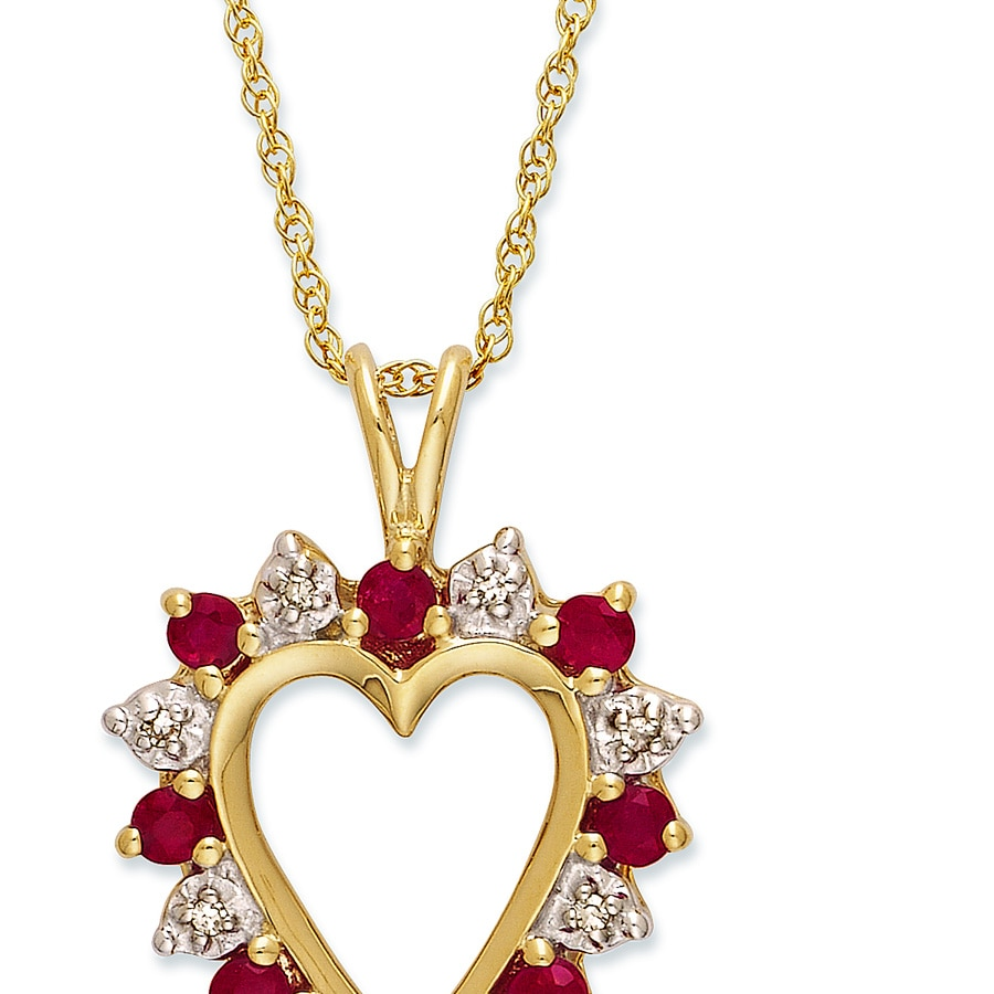 Kay clearance 10k gold diamond natural ruby heart necklace hover to zoom aloadofball Image collections