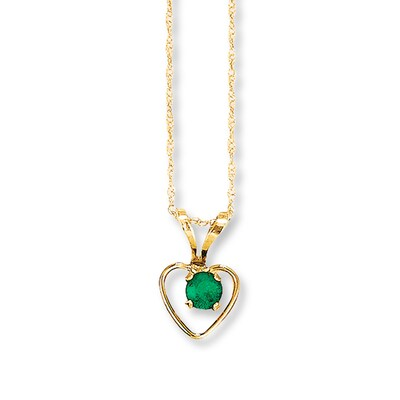 Natural Emerald Necklace 14K Yellow Gold