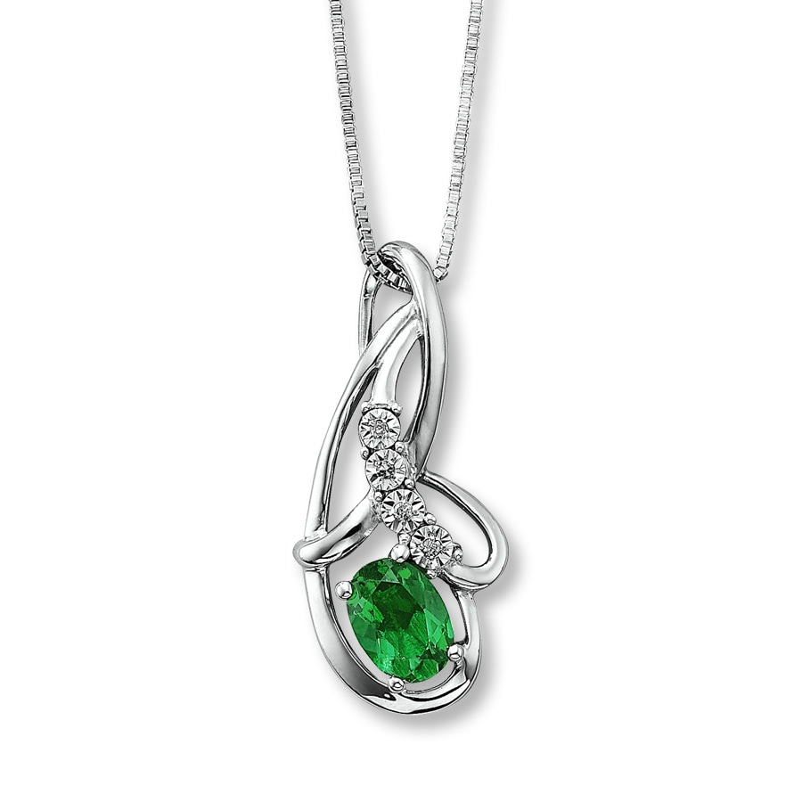 emerald fancy peardrop cz silver sterling necklace