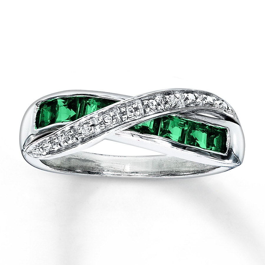 lab created emerald ring accents sterling silver