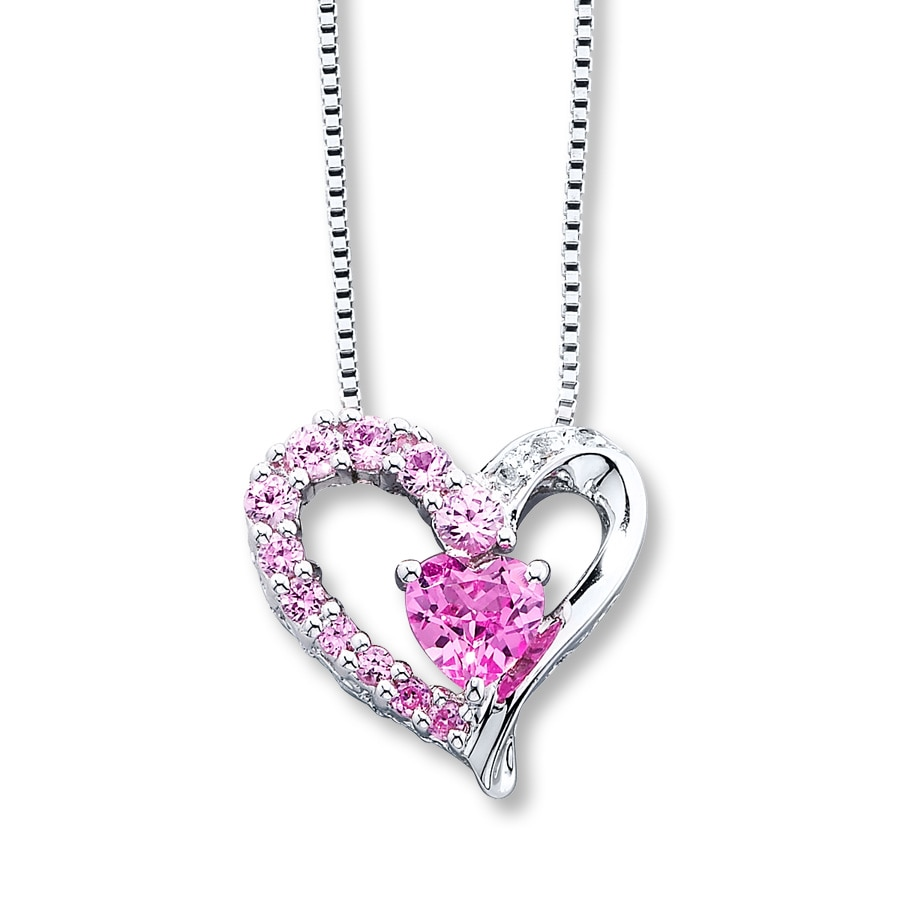 necklace silver heart pink gemstone pendants with created cut chain sterling pendant sapphire