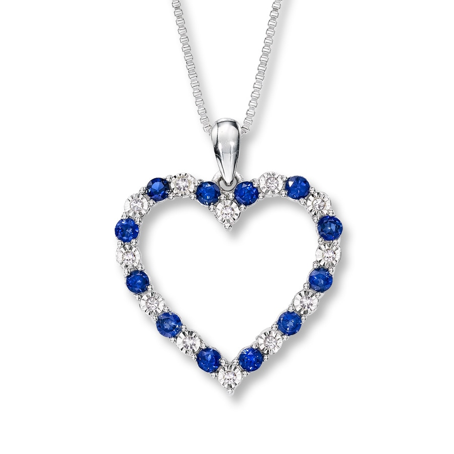 Kay Lab Created Sapphire Necklace with Diamonds Sterling Silver