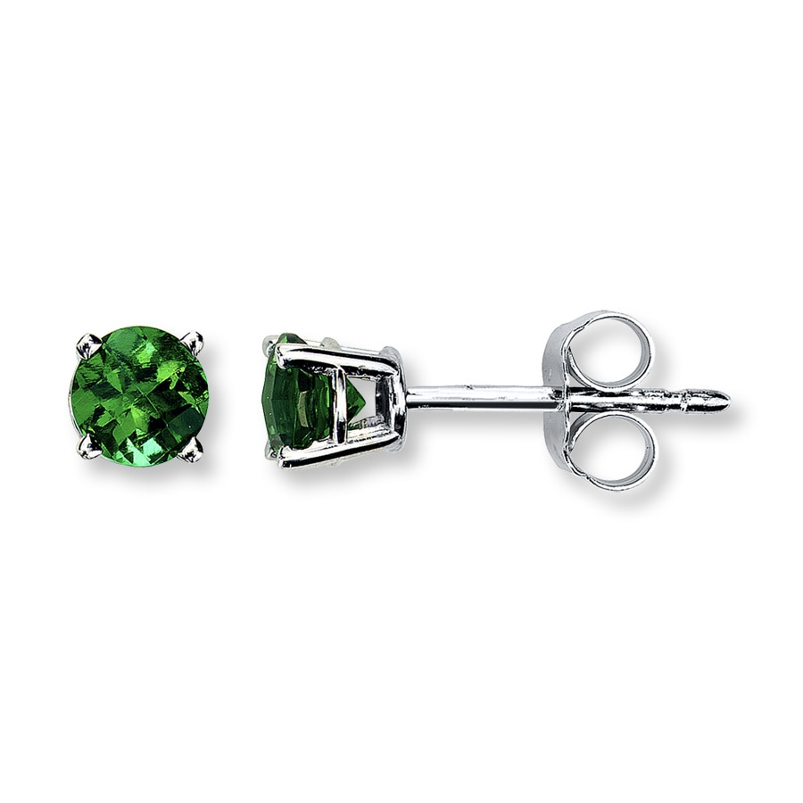 Lab Created Emerald 14k White Gold Earrings Tap To Expand