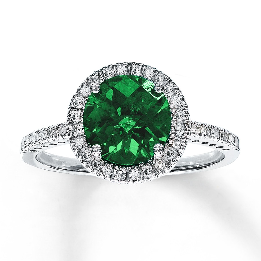 lab created emerald ring 1 5 ct tw diamonds 10k