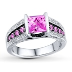 Lab-Created Pink Sapphire Square-cut Sterling Silver Ring