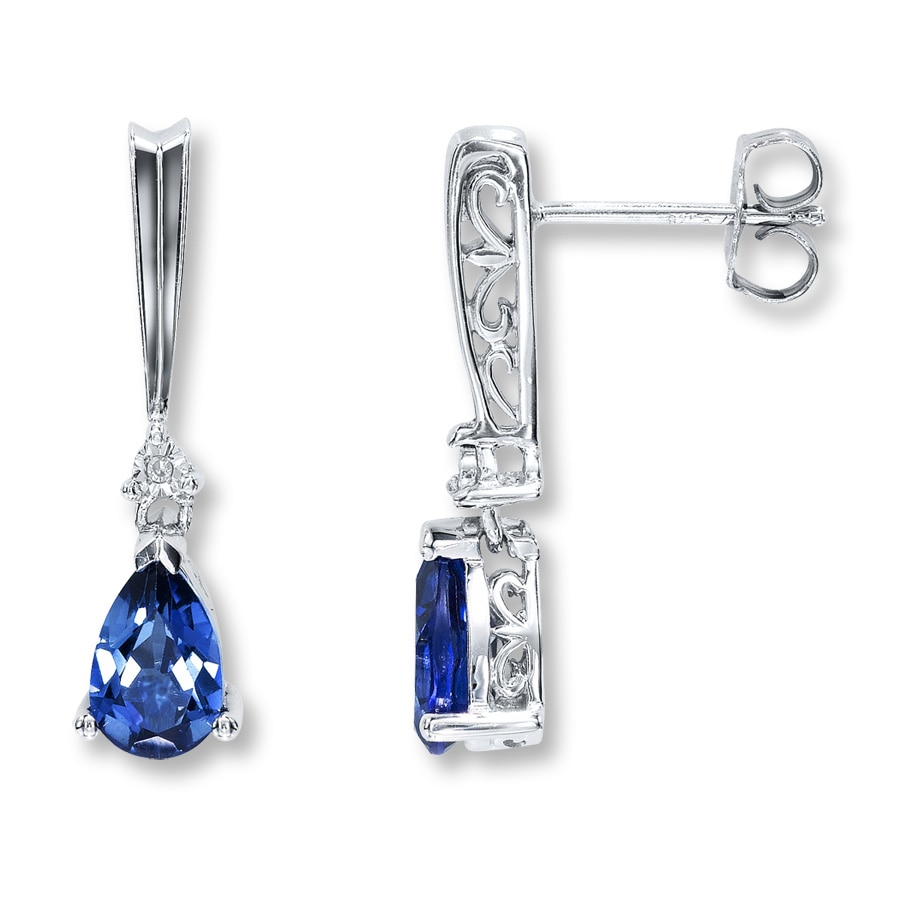kays earrings lab created sapphire earrings with diamonds sterling 1404