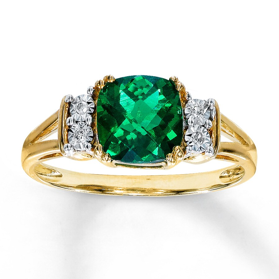 lab created emerald ring accents 10k yellow gold