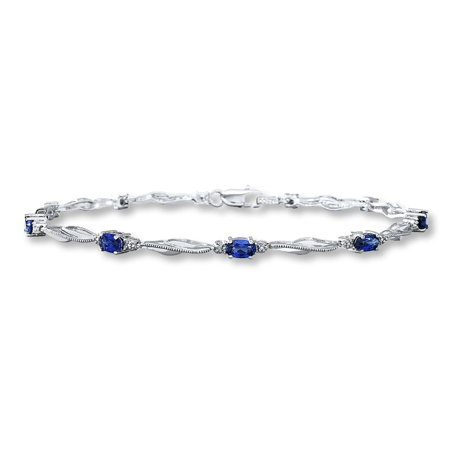 overstock sterling sapphire shipping today miadora and jewelry watches free created product bracelet white silver blue
