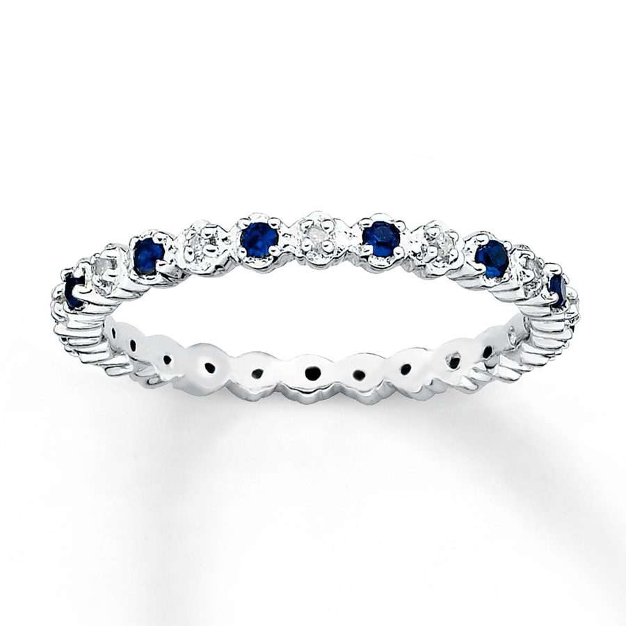 Stackable Ring Lab Created Sapphires 1 20 Ct Tw Diamonds