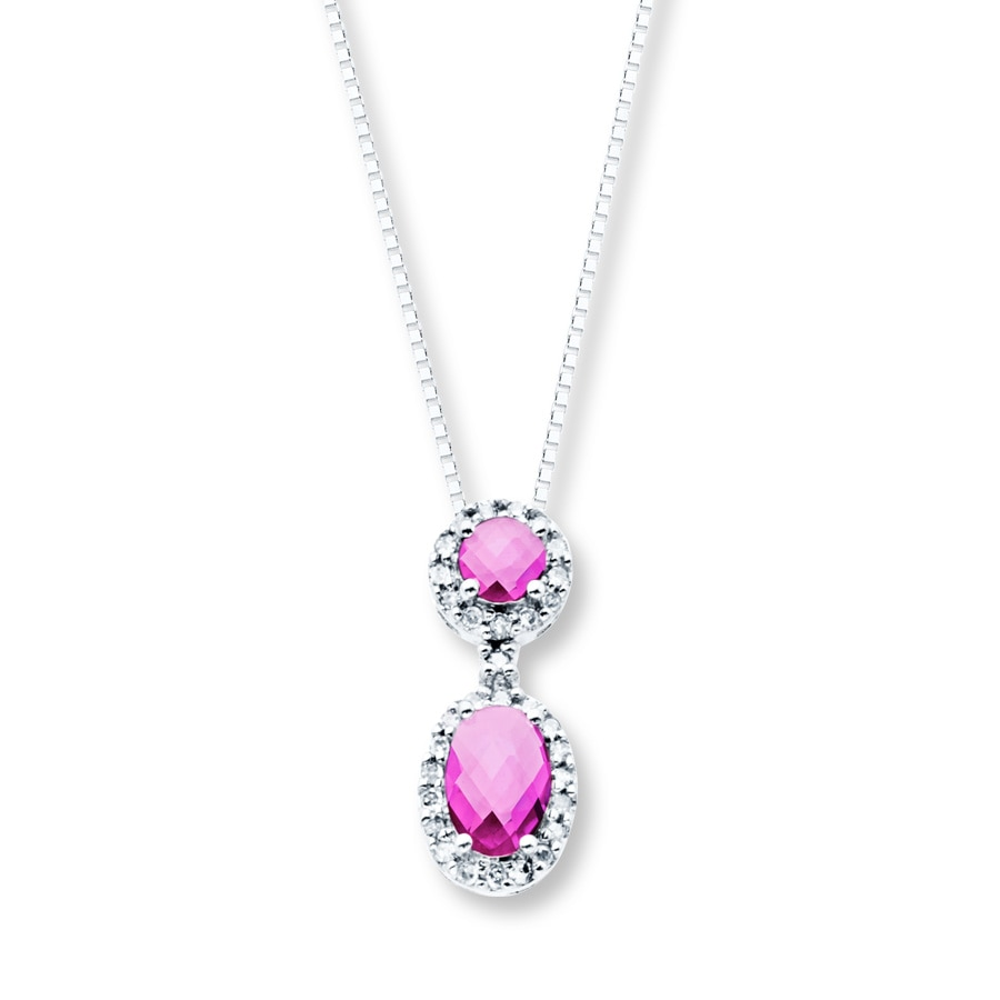 by necklace platinum a set pin gold and pendant rose with pink sapphire round surrou