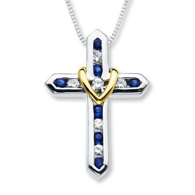 Cross Necklace Lab-Created Sapphire Sterling Silver/10K Gold