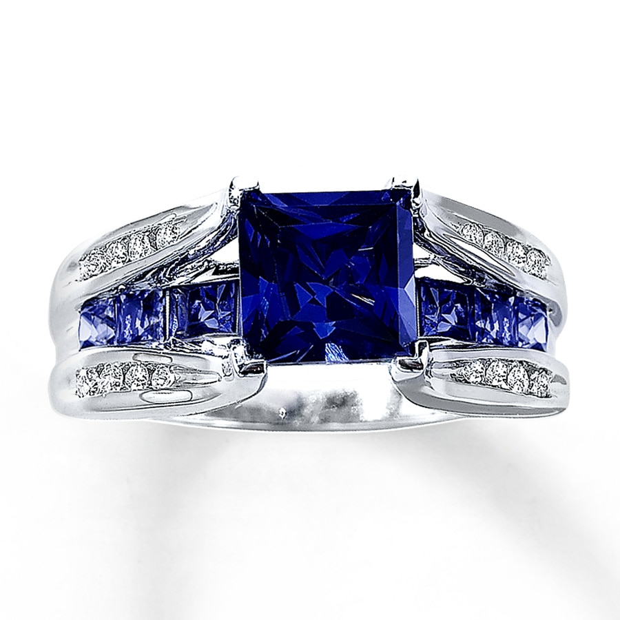Kay Lab Created Sapphire Ring 1 8 ct tw Diamonds 10K White Gold