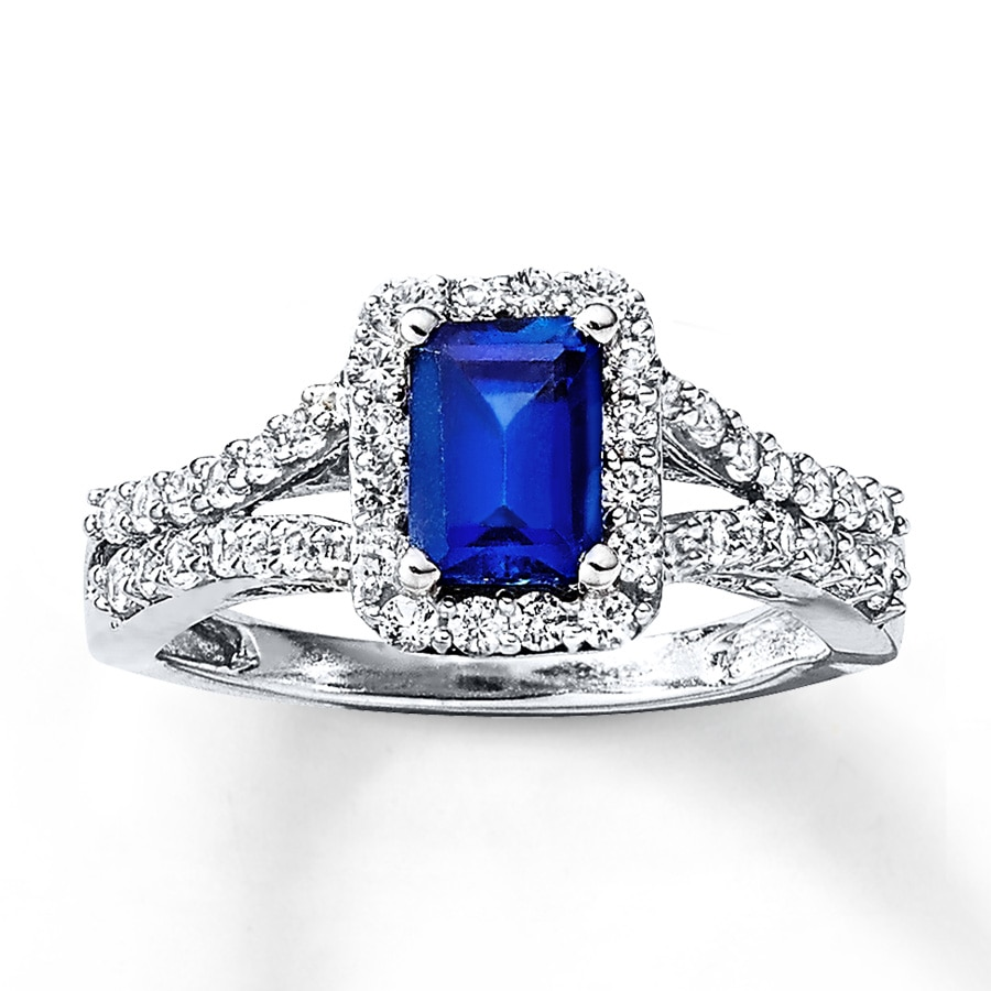 lab created sapphire ring 10k white gold