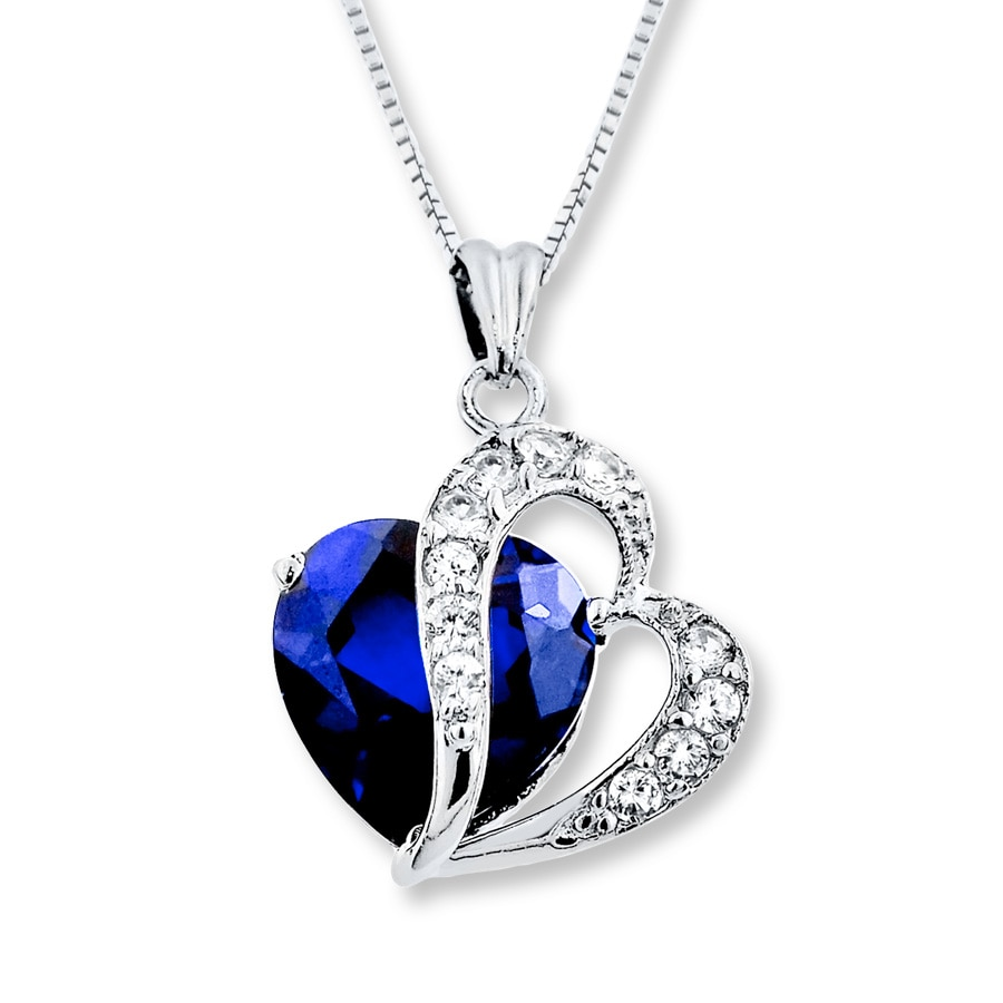 silver necklace of product crescent created sapphire sterling blue image diamond