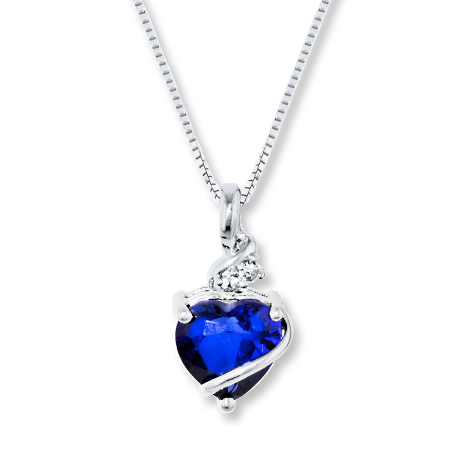 Blue Amp White Lab Created Sapphire Sterling Silver Necklace