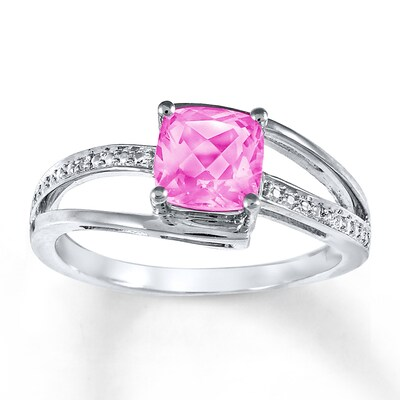 Lab-Created Pink Sapphire Diamond Accents Sterling Silver Ring