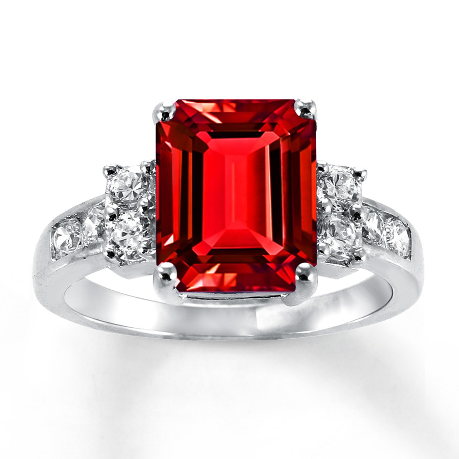 Lab Created Ruby Ring Lab Created Sapphires Sterling