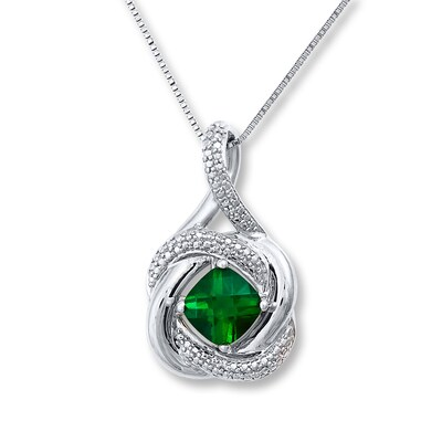 Lab-created Emerald Diamond Accents Sterling Silver Necklace