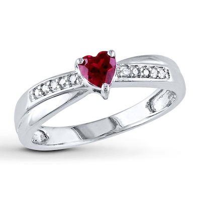 Lab-Created Ruby Ring 1/20 ct tw Diamonds Sterling Silver
