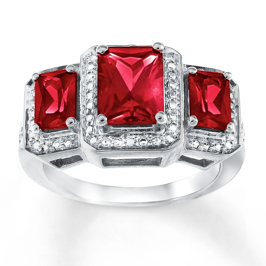 Lab Created Ruby Ring Diamond Accents Sterling Silver