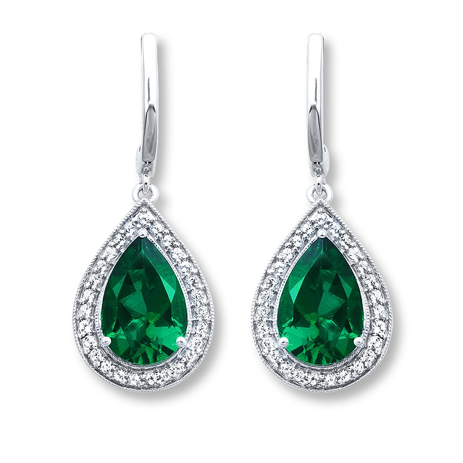 Lab Created Emerald Earrings White Topaz Sterling Silver Tap To Expand