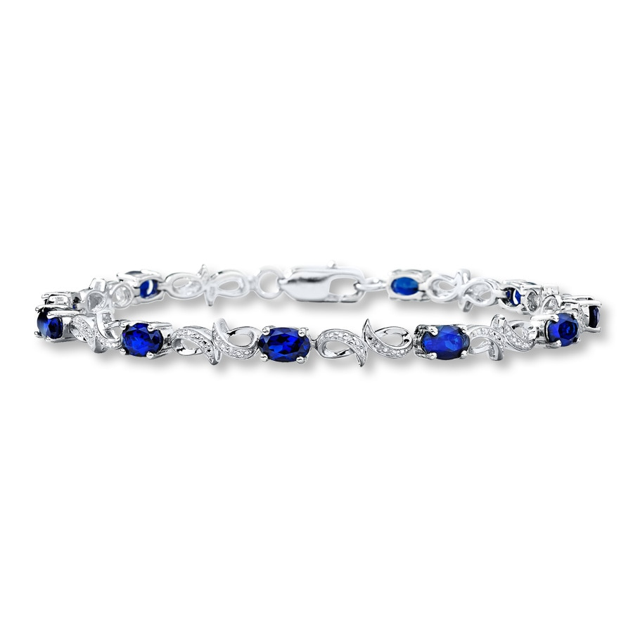 376cd6a8a Lab-Created Sapphires Bracelet with Diamonds Sterling Silver. Tap to expand