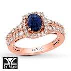Le Vian Sapphire Ring 1/2 ct tw Diamonds 14K Strawberry Gold