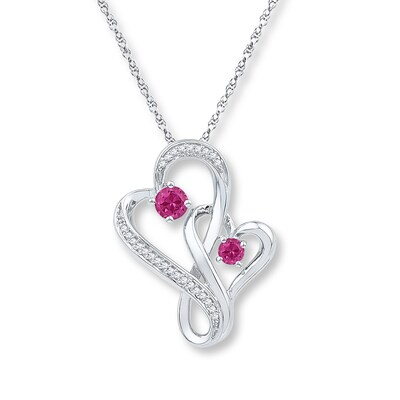 Lab-Created Sapphires 1/8cttw Diamonds Sterling Silver Necklace