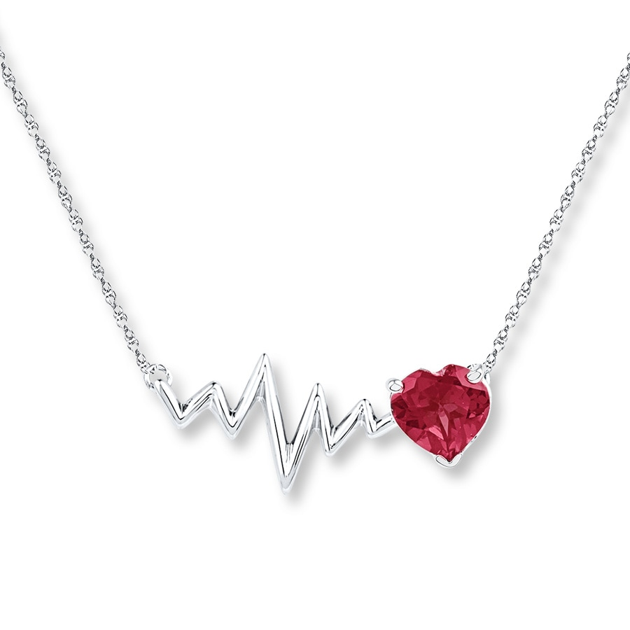 Heartbeat Necklace Lab Created Ruby Sterling Silver