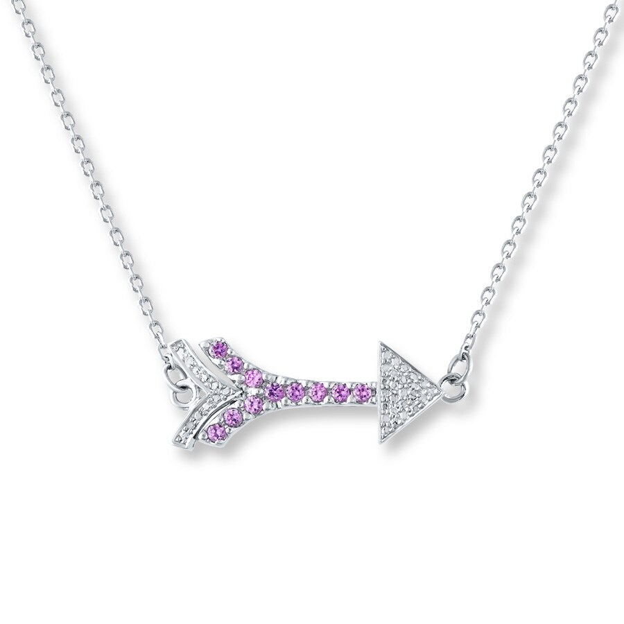 Diamond Arrow Necklace Lab Created Sapphire Sterling