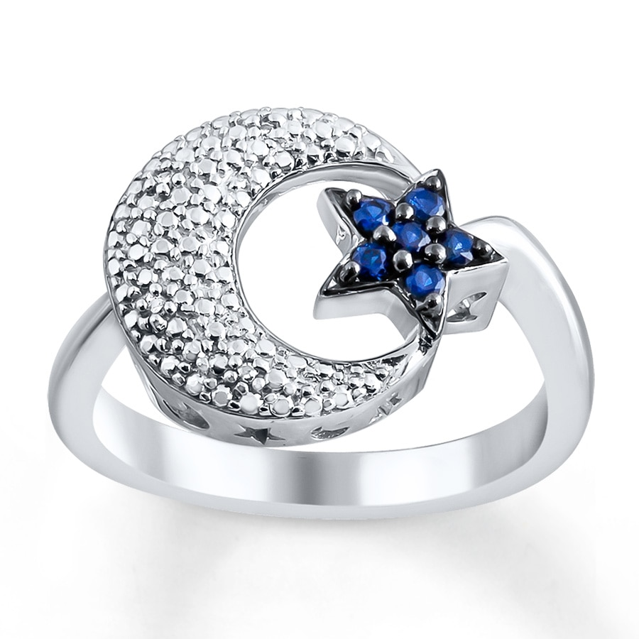 Moon Amp Star Ring Lab Created Sapphires Sterling Silver