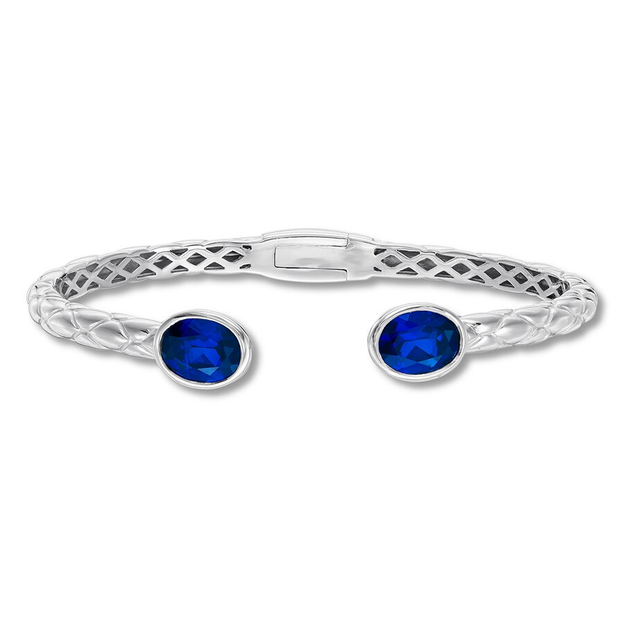 583df54b0 Textured Bangle Bracelet Lab-Created Sapphires Sterling Silver ...